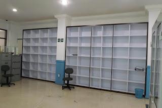 Lemari Kantor HPL Corak Kayu + Furniture Semarang (Rak Arsip)