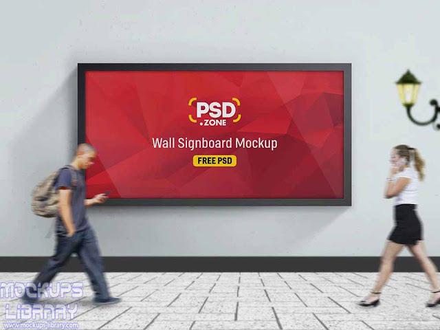 road side wall billboard mockup
