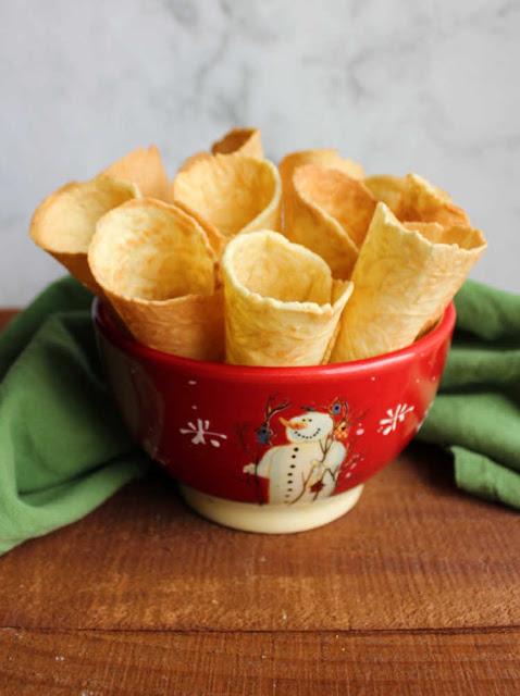 bowl of crunchy krumkake horns