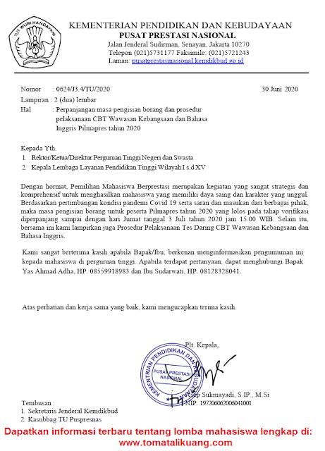 pengumuman perpanjangan pengisian borang dan prosedur pelaksanaan cbt pilmapres tahun 2020 tomatalikuang.com