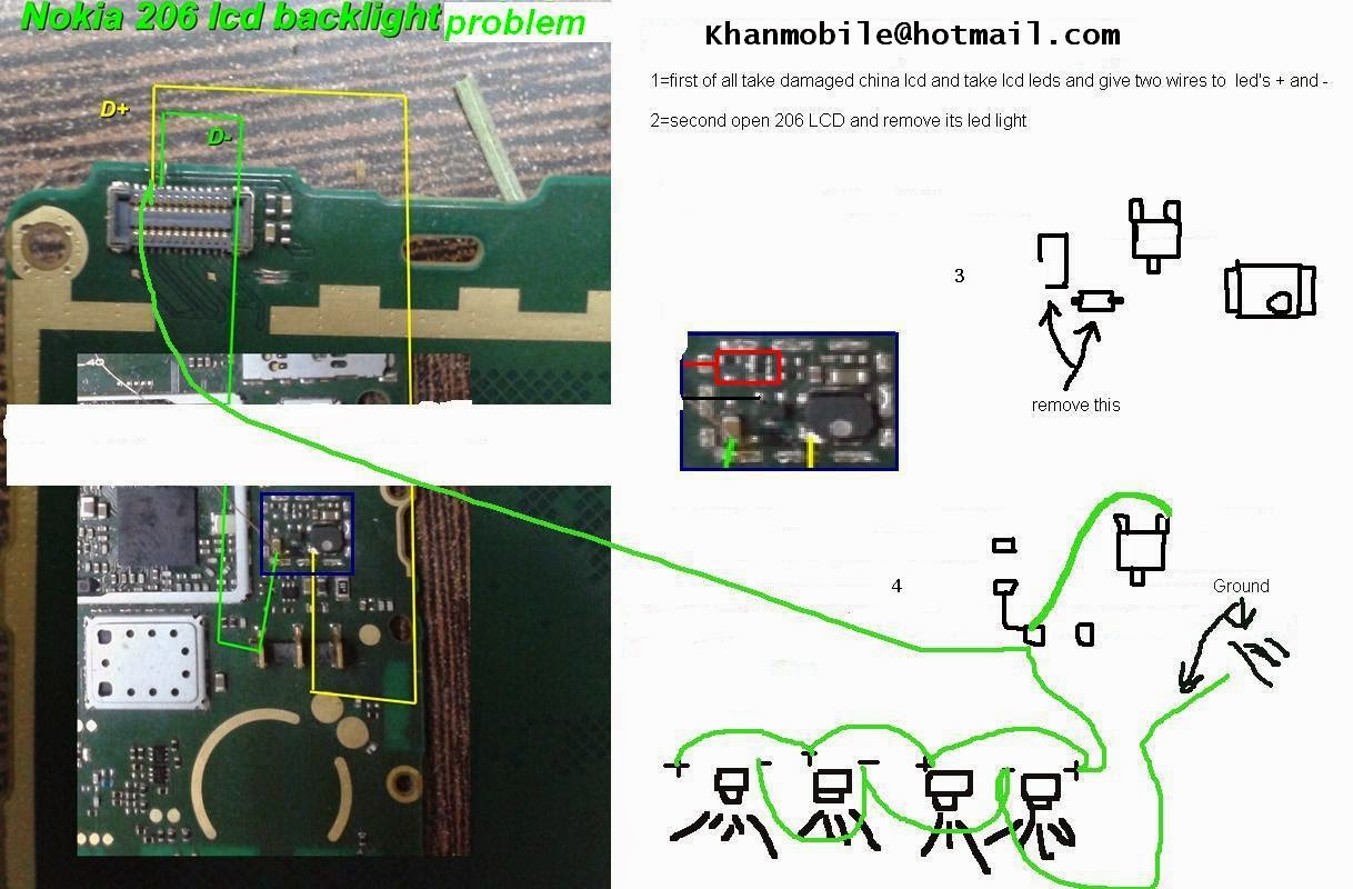 Nokia 206 Display Light Problem Solution With Jumpers   gsmfixer