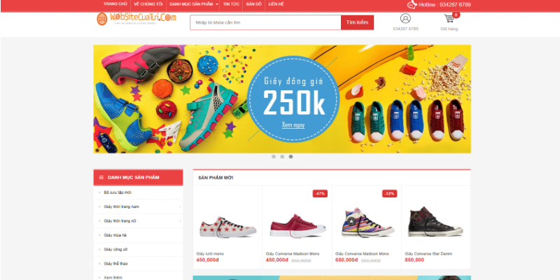Mẫu website bán giày dép online miễn phí