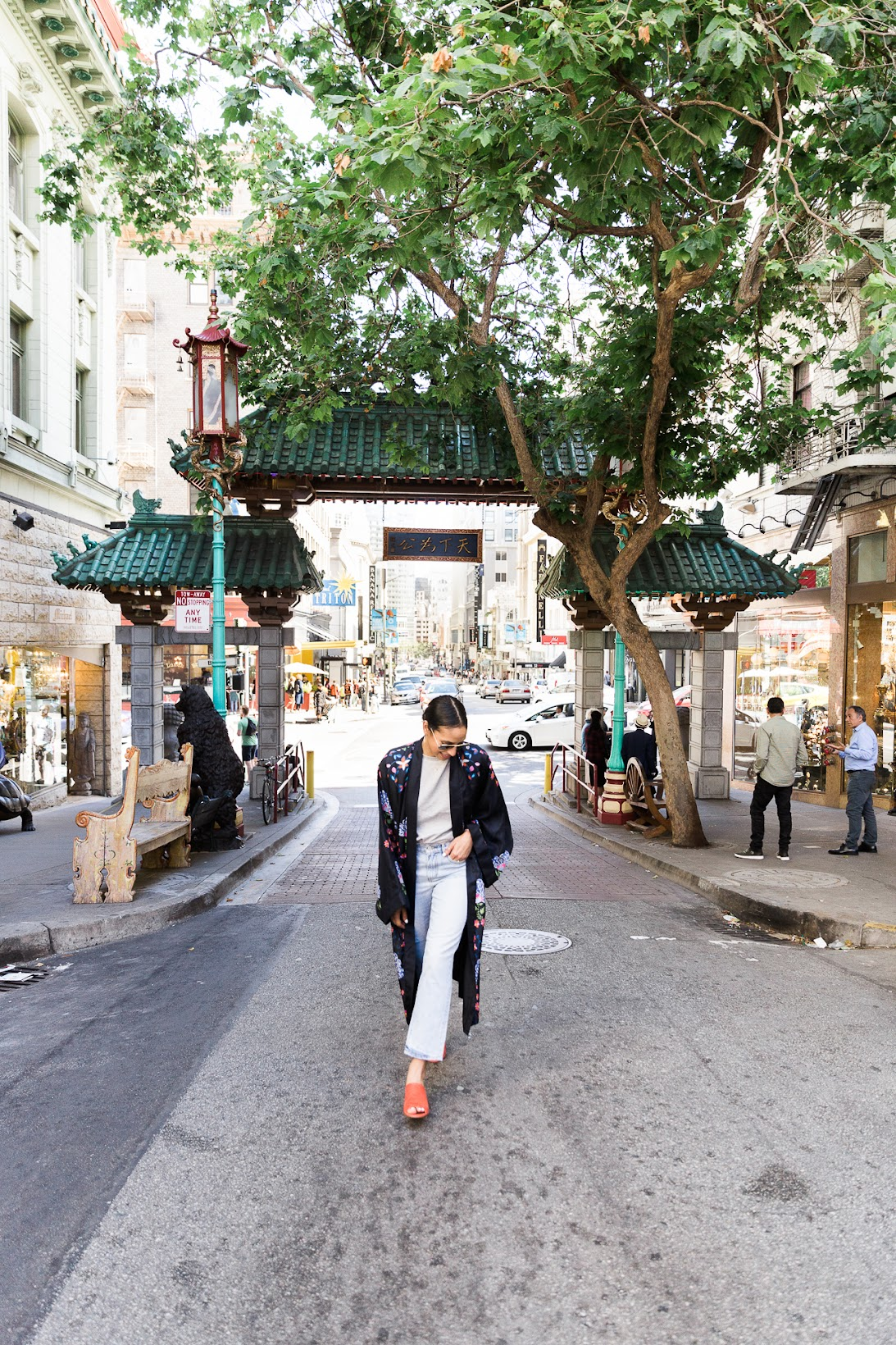 Cynthia Rowley Kimono, , Kimono, Cynthia Rowley, Marc Fisher , Tangerine mules, Banana Republic straight leg denim, chic street style,