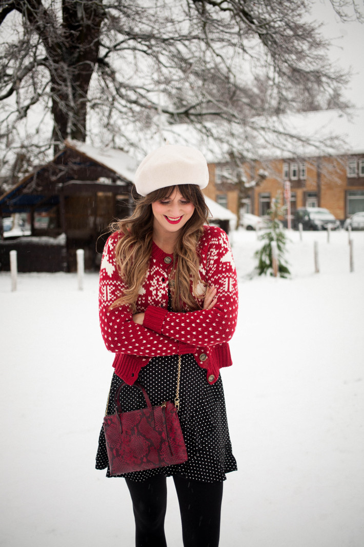 Outfit: mixing prints in the first snow