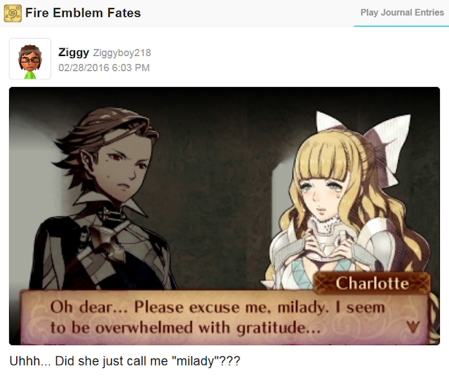 Fire Emblem Fates Charlotte please excuse me milady male Corrin support localization error