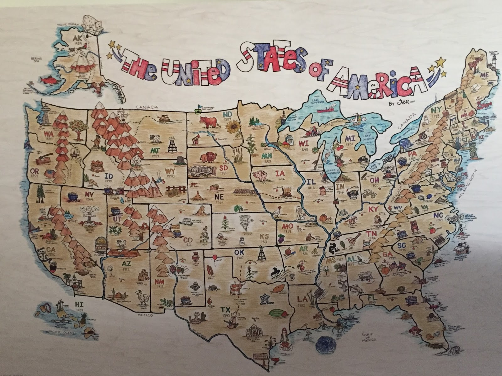 this united states of america map was a gift for my brother who is a history teacher but since its creation i have had multiple requests for copies