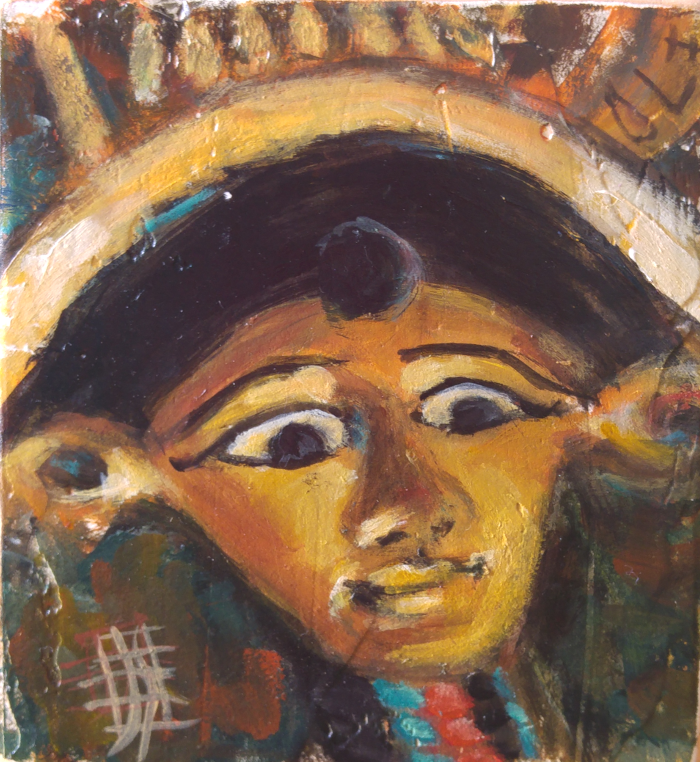 egyptian hathor original painting by joanie springer