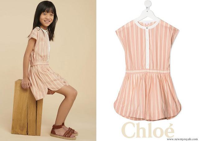 Princess Gabriella wore Chloe Kids stripe print cap sleeves playsuit