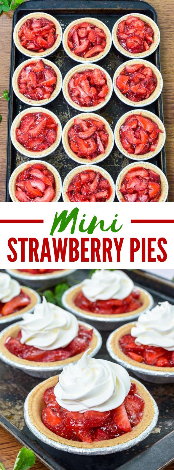 MINI STRAWBERRY PIES #desserts #summerdessert