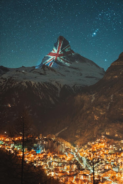the UK Union flag projected onto the side of the Matterhorn in Switzerland
