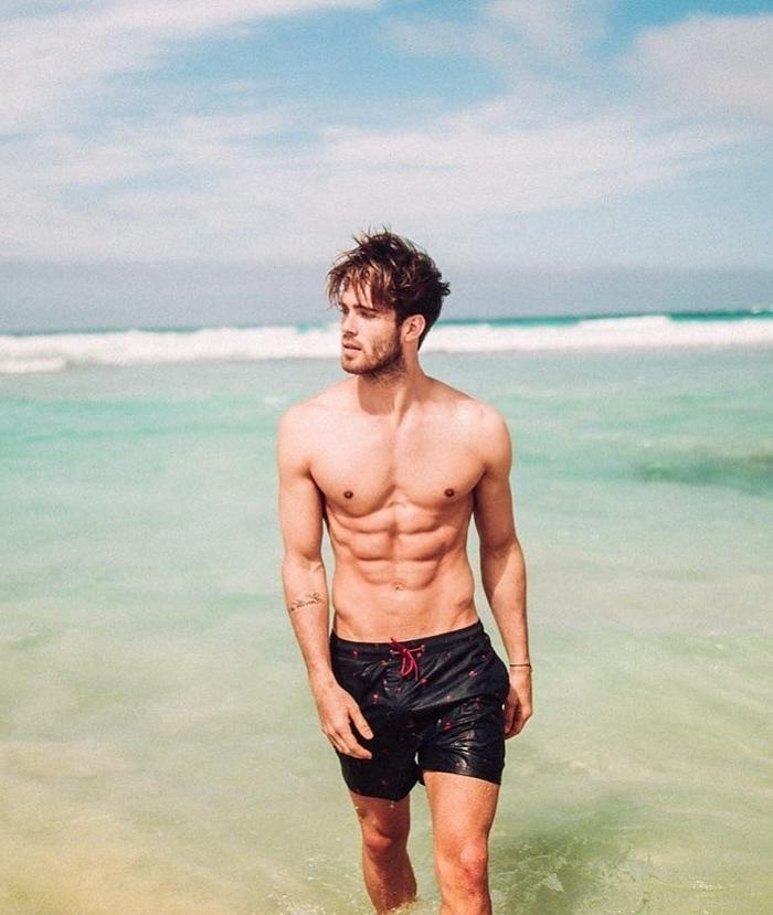 cute-fit-ripped-sixpack-abs-shirtless-male-model-sea-vacation-wet-shorts