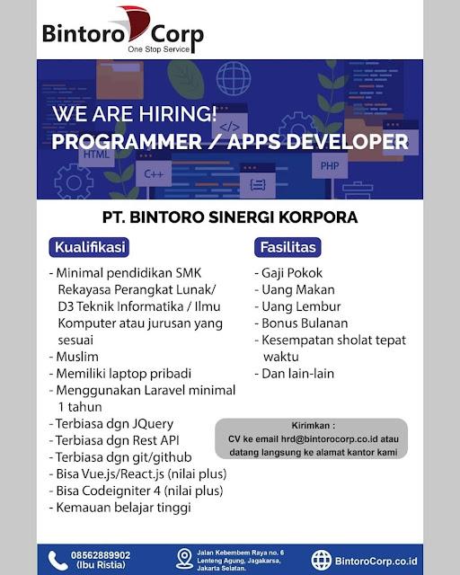 Lowongan Kerja Programmer Apps Developer