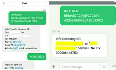 contoh bukti transfer bri sms banking