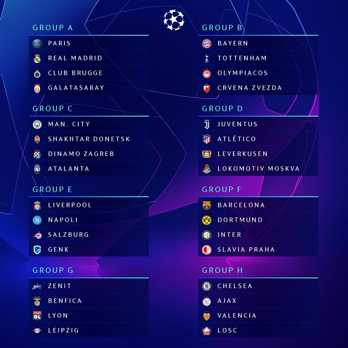 Champions League Group Stage draw revealed: Bayern Munich vs Spur, Chelsea vs Valencia, PSG vs Real Madrid