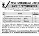 ZTBL Jobs December 2020, Zarai Taraqiati Bank Limited Advertisement