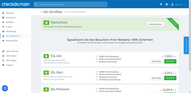 Aktivierte SSL-Verschlüsselung bei Checkdomain