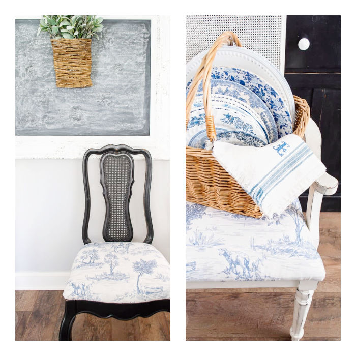 black and white chairs with blue toile seats