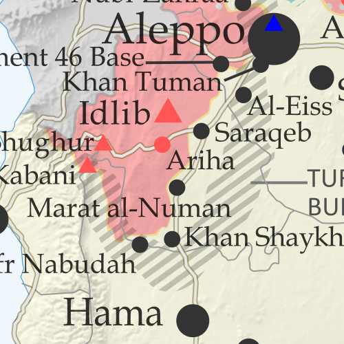 Map of Syrian Civil War (Syria control map): Territorial control in Syria in February 2020 (Free Syrian Army rebels, Kurdish YPG, Syrian Democratic Forces (SDF), Hayat Tahrir al-Sham (HTS / Al-Nusra Front), Islamic State (ISIS/ISIL), and others). Includes Turkish/TFSA control, joint SDF-Assad control, US deconfliction zone, and Turkey-Russia demilitarized buffer zone, plus recent locations of conflict and territorial control changes, including Marat al-Numan, Saraqeb, Regiment 46, Al-Eiss, and more. Colorblind accessible.