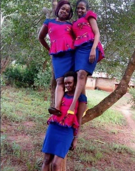 Three Kenyan girls take bridesmaid posing to a whole new level