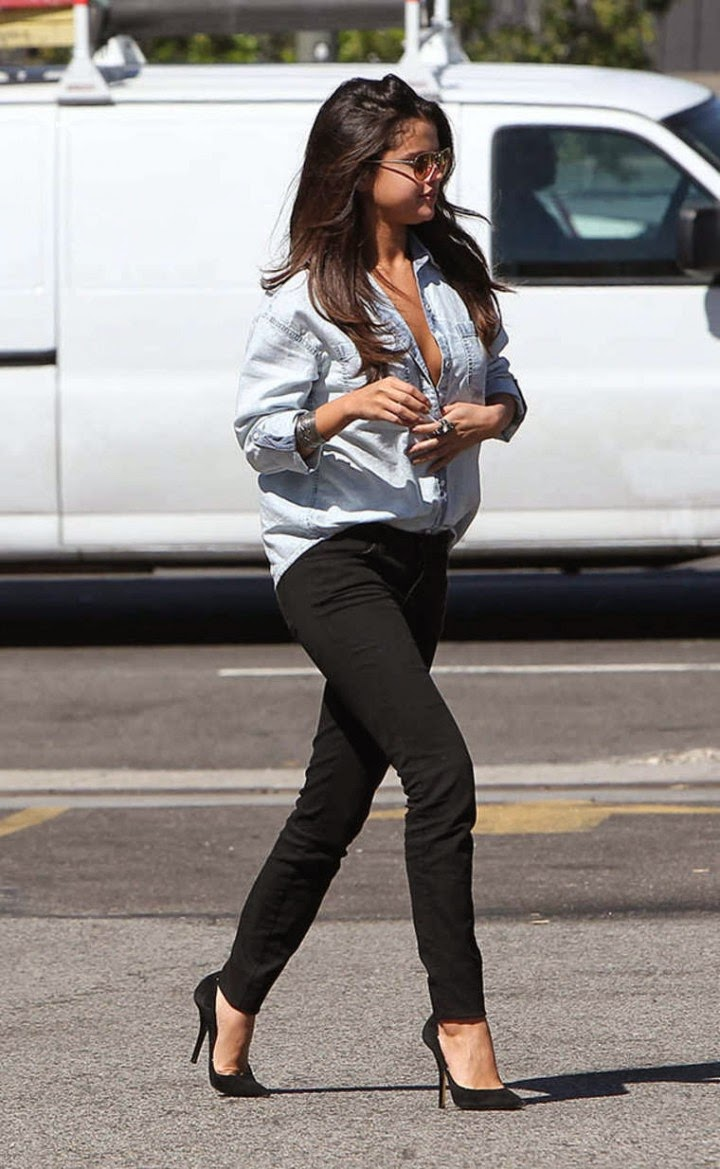 Selena Gomez Rocks Double Denim Trend Out And About In