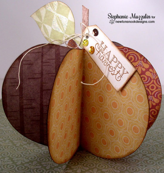 Fall 3D paper pumpkin by Stephanie Muzzulin for Newton's Nook Designs | Falling into Autumn Stamp Set