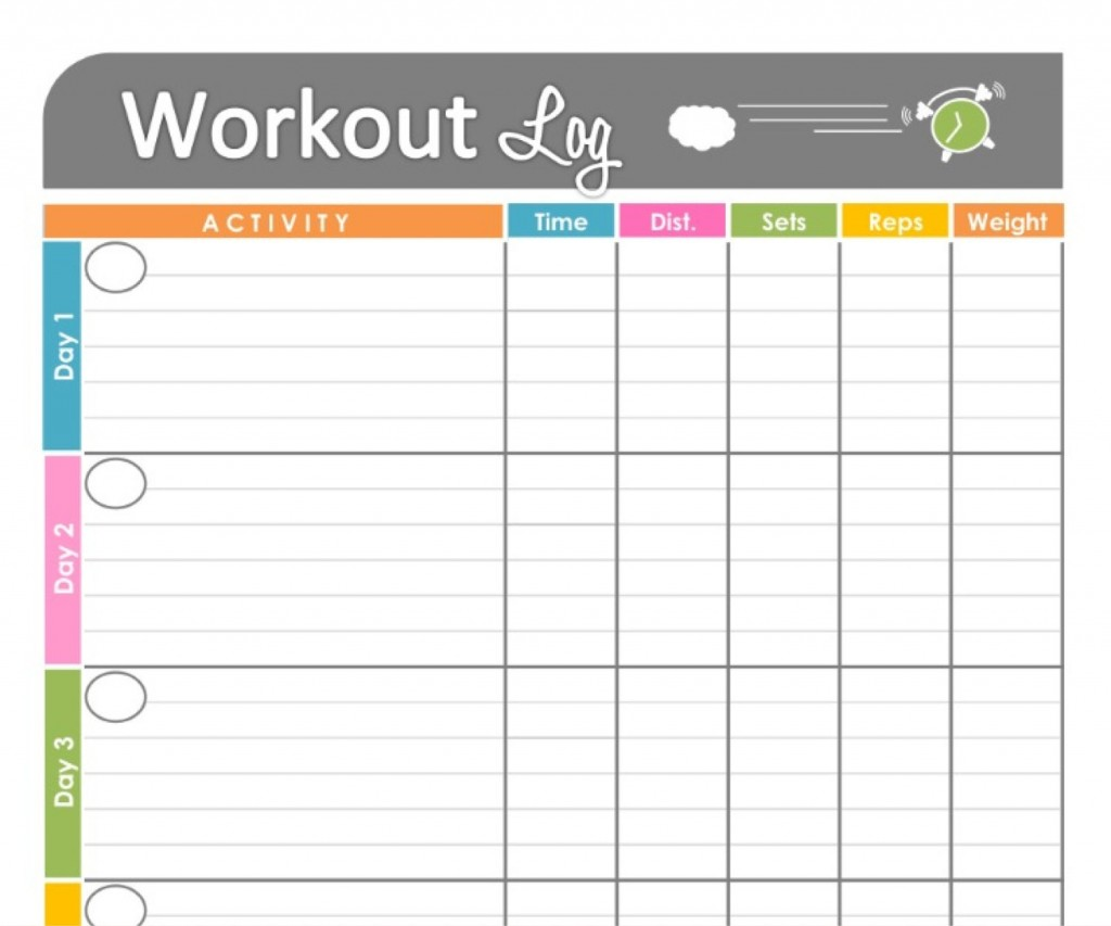 Workouts Log Templates Printable In