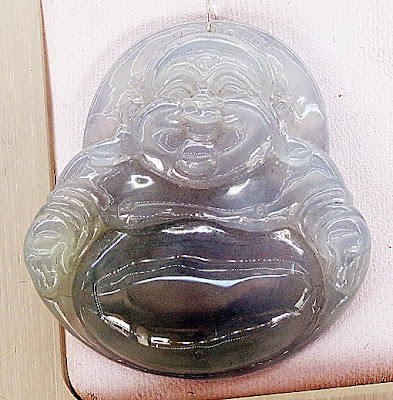 Fat and laughing lavender jade Buddha Pendant