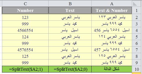 فصل القيم النصية والرقمية Split Text & Number