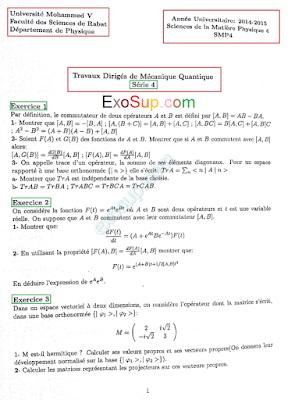 les séries de td mécanique quantique 1 smp