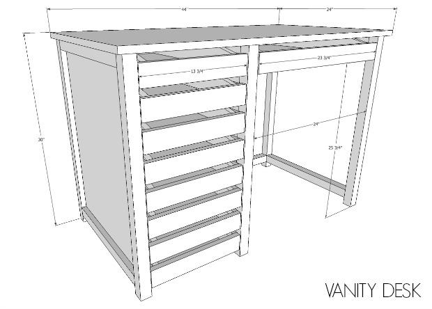 diy vanity desk free plans
