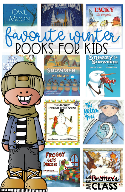 Favorite Winter Books for Kids! Companion activities and book studies to go with winter favorites including The Mitten, Owl Moon, Froggy Gets Dressed, The Jacket I Wear in the Snow, Sneezy the Snowman, Snowmen at Night, Tacky the Penguin, The Snow Globe Family, and The Mitten Tree.