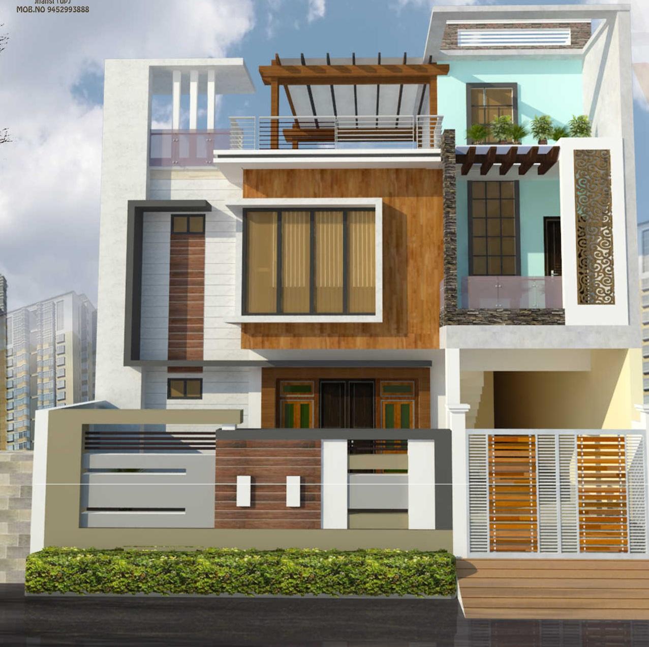 Best 14 modern house front facade design - exterior wall