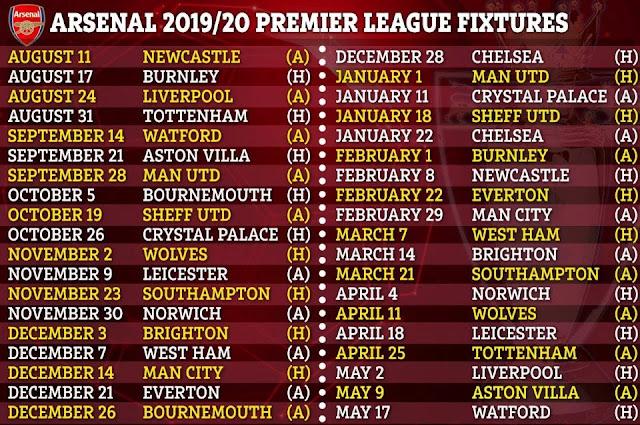 arsenal full epl fixtures 2019-20