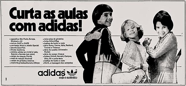 Propaganda da Adidas no final dos anos 70 promovendo sua linha de uniformes escolares.