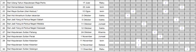 Malaysia Public Holidays 2019 Calendar (Kalendar Cuti Umum Hari Kelepasan Am)
