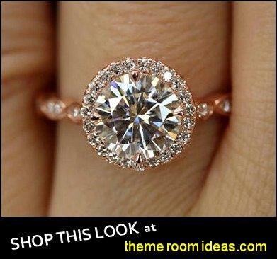 Moissanite  Rose Gold Diamond Halo Engagement Ring womens rings womens jewelry