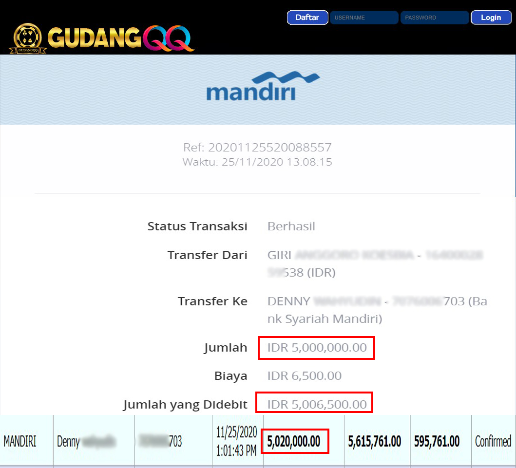 Selamat Kepada Member Setia GudangQQ WD sebesar Rp. 5,020,000,-