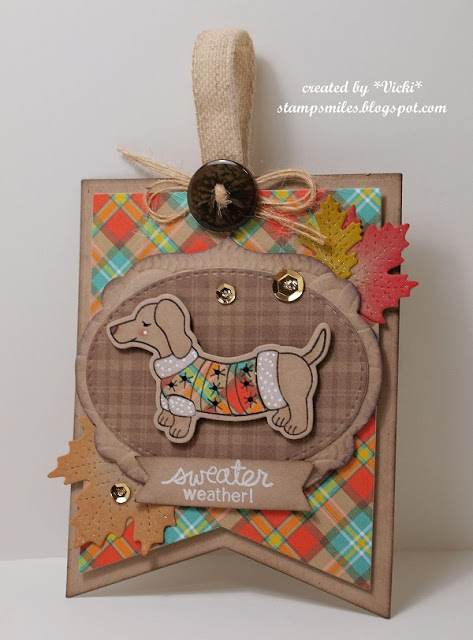 Inky Paws Challenge #37 | Plaid Fall card with Dachshund by Vicki | Holiday Hounds Stamp set by Newton's Nook Designs #newtonsnook