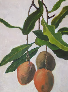 Mangoes, acrylic on canvas by Mary Adam (c) Mary Adam