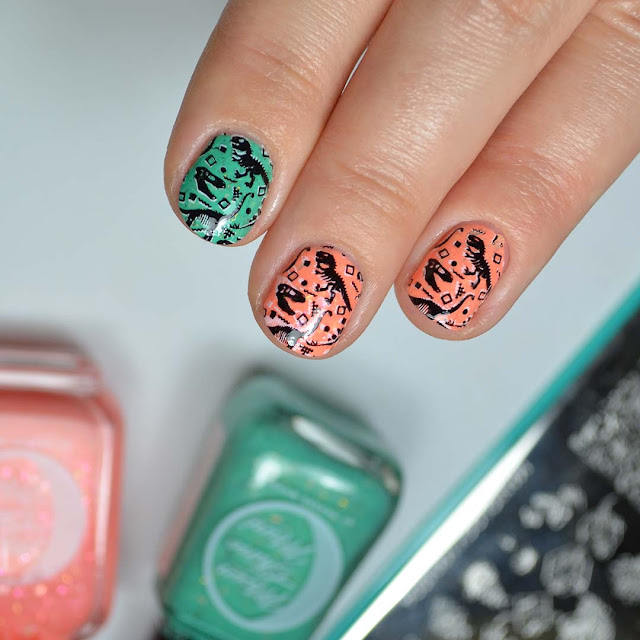 neon nails with dinosaur stamping