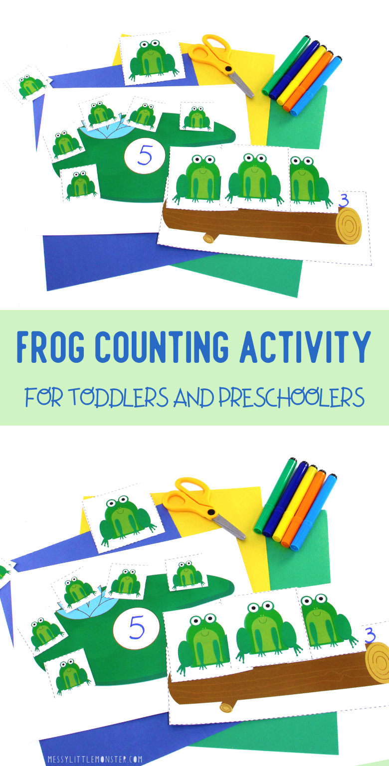 Frog counting activity for toddlers and preschoolers with printable frogs and lily pads. Five little speckled frogs activity.