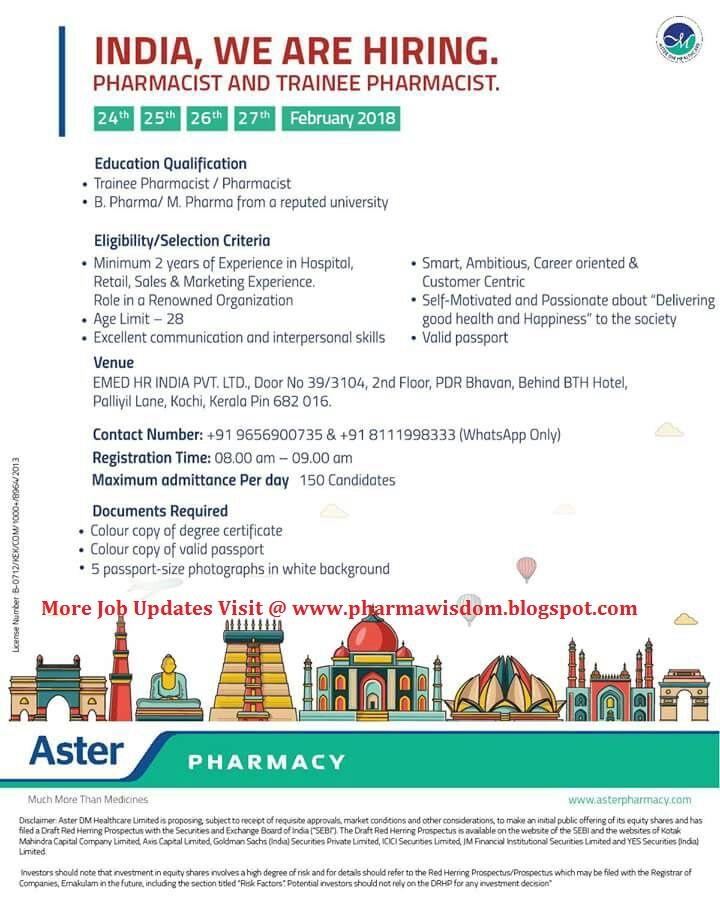 PHARMA WISDOM: ASTER PHARMACY - Walk-In Interviews for Pharmacist ...