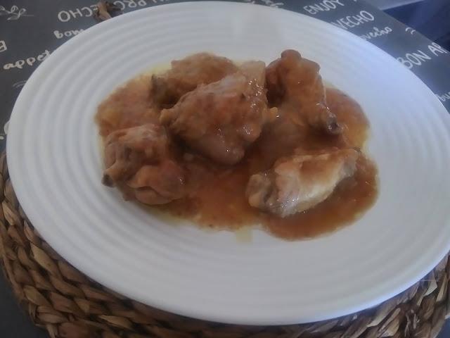 Pollo al cava con sopa de sobre