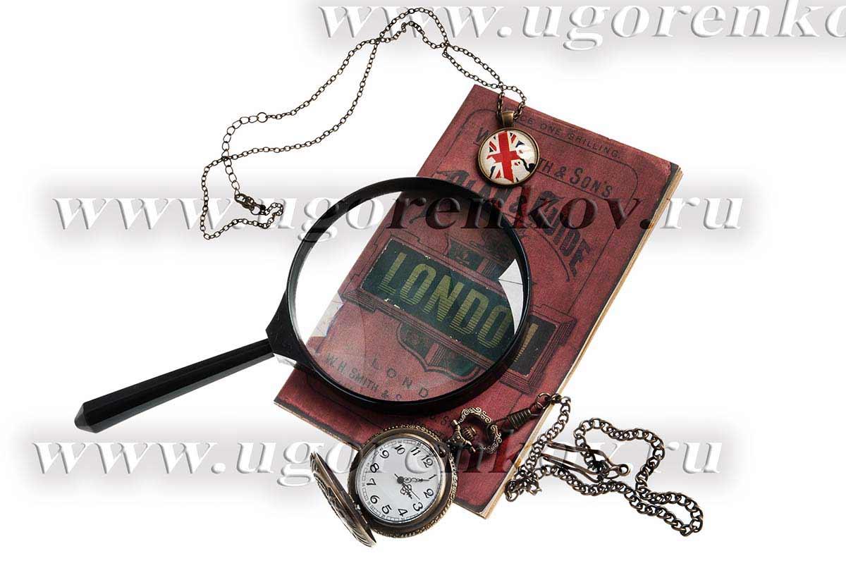 часы на цепочке, лупа, карта лондона