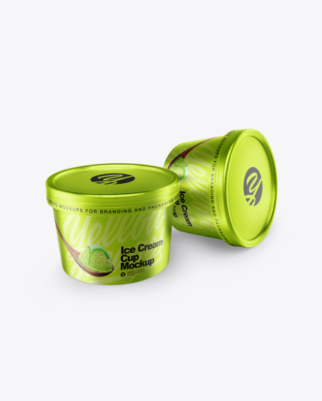 3 Model Two Metallic Ice Cream Cups Mockup