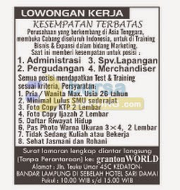 Jobs Lampung Graton WORLD, 8 September 2014