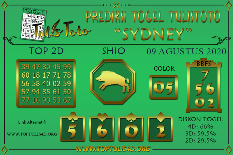 Prediksi Togel SYDNEY TULISTOTO 09 AGUSTUS 2020