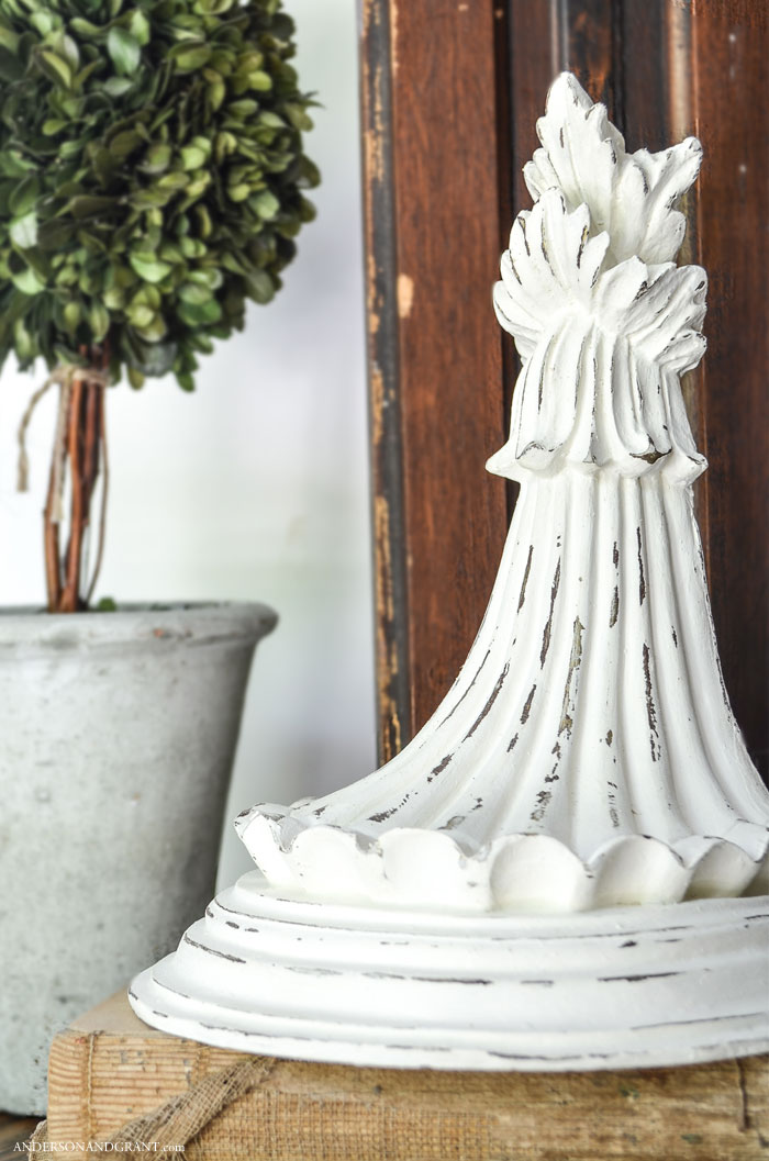 Create your own distressed pieces of architectural salvage out of thrift store shelves.  |  www.andersonandgrant.com