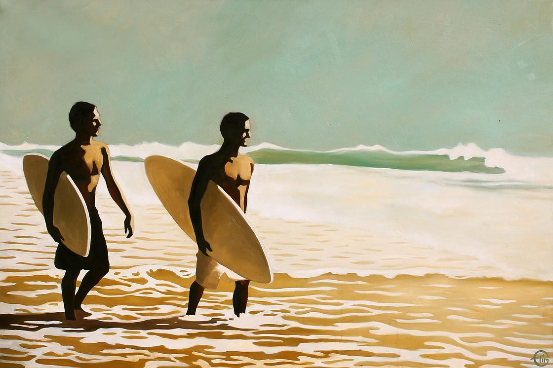 Emilie Arnoux y su pintura sobre la vida en la playa