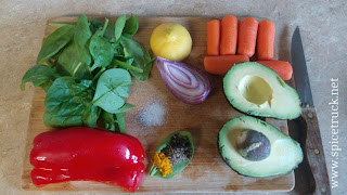 Colorful Avocado sandwich ingredients